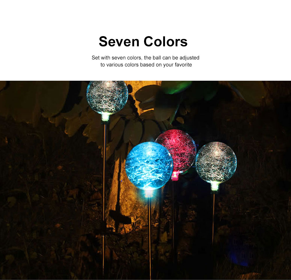 2pcs Solar-Powered Led Decorative Lights 7 Colors Cracked Glass Ball LED Garden Lights Waterproof Solar Night Patio Lights for Outdoor Use 1