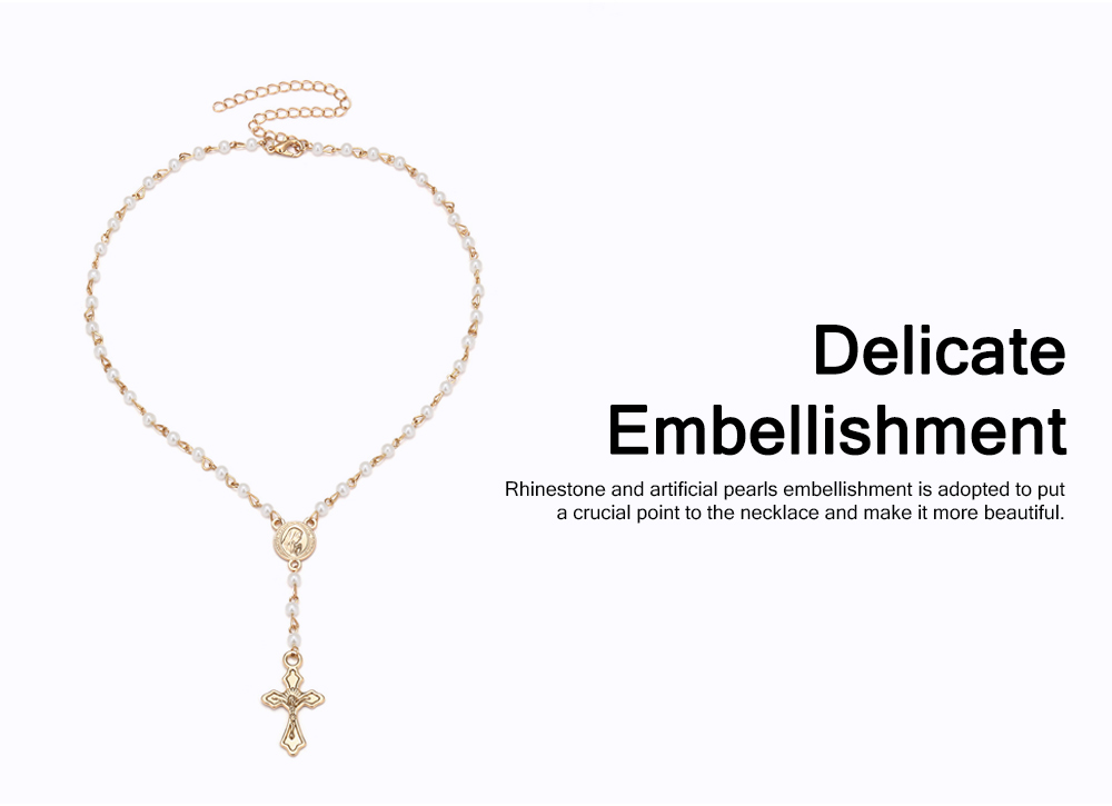 Delicate Fancy Golden Rhinestone Artificial Pearl Decorative Necklace, Fashion Double Layers Cross Heart Model Ornament Pendant for Women 2