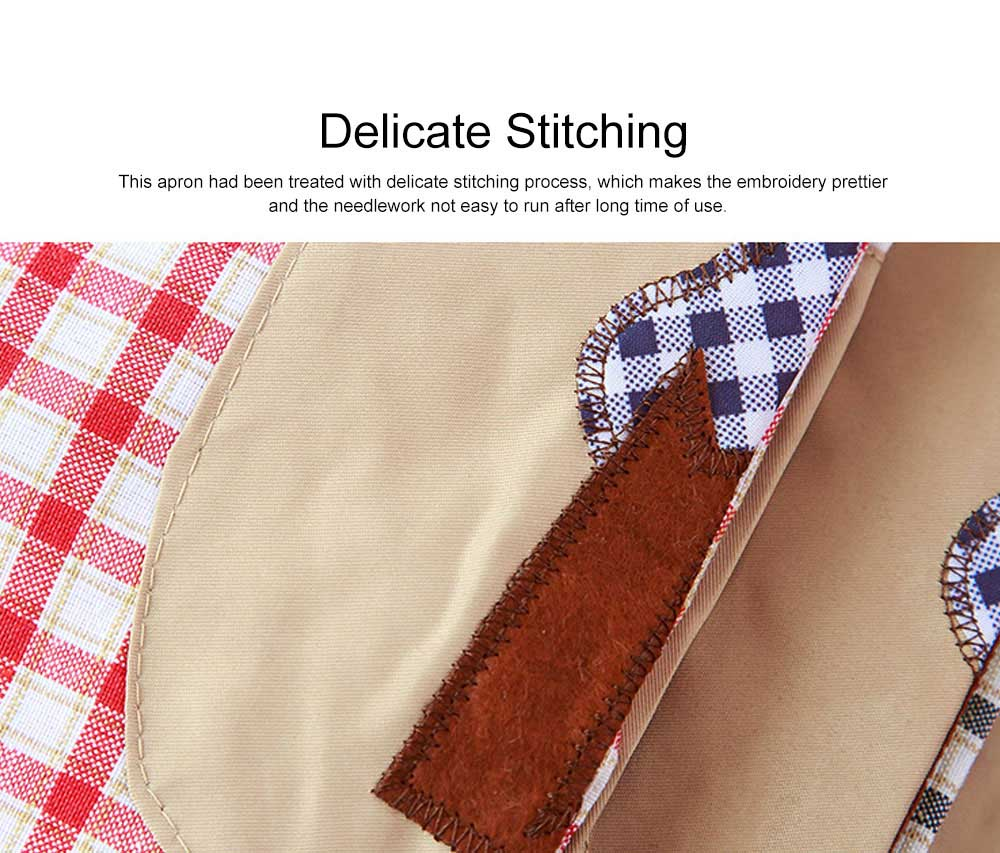Cute Trees Embroidery Plaid Women Men Apron Dress, Home Kitchen Restaurant Antifouling Adjustable Apron with Pockets 7