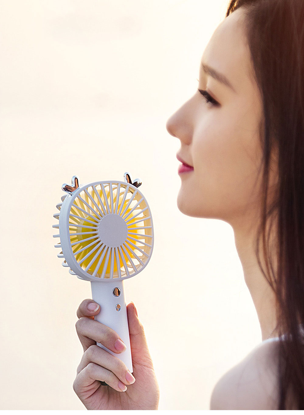 Creative Cute Animal Ears Model Portable Handheld Fan Outdoors Large Capacity Mini Fan with Night Light Base 11