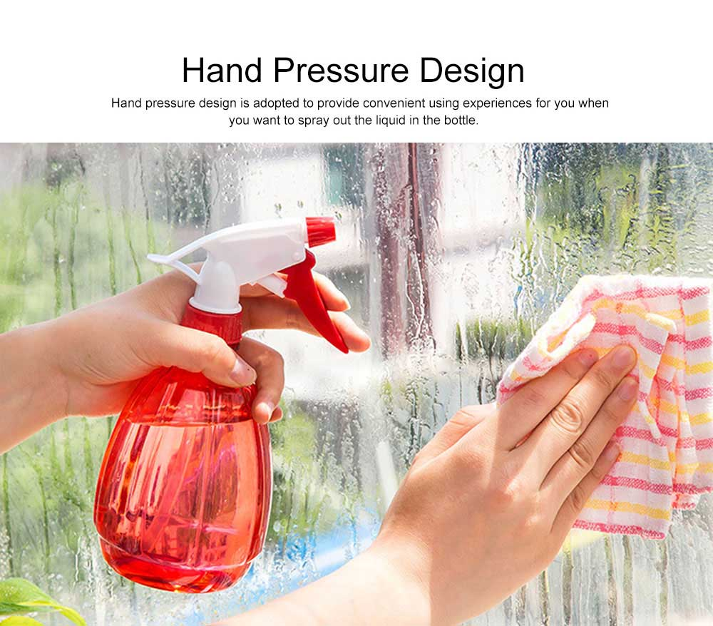 Minimalist Transparent Candy Color Hand Pressure Sprayer, Solid PP PVC Handheld Trigger Pump Watering Bottle 5