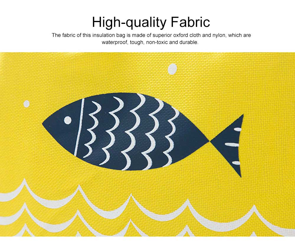 Cute Fish Painting Handheld Heat Protecting Bag, Waterproof Wearable Oxford Cloth Portable Insulation Handle Bag Picnic Pack 1