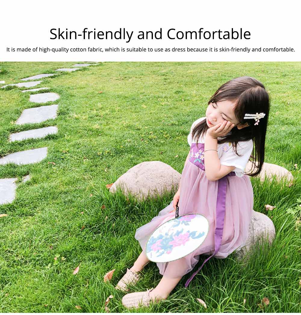 Han Chinese Clothing for Girls V Collar Flower Adornment Ribbon Chinese Characteristics Skin-friendly and Comfortable Dress 5