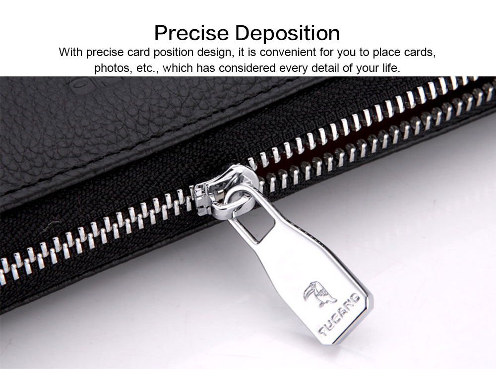 Male Vertical Leather Wallet with Thin Zip European & American Fashion Multi-card Clutch Wallet , Wallets for Young Men 5