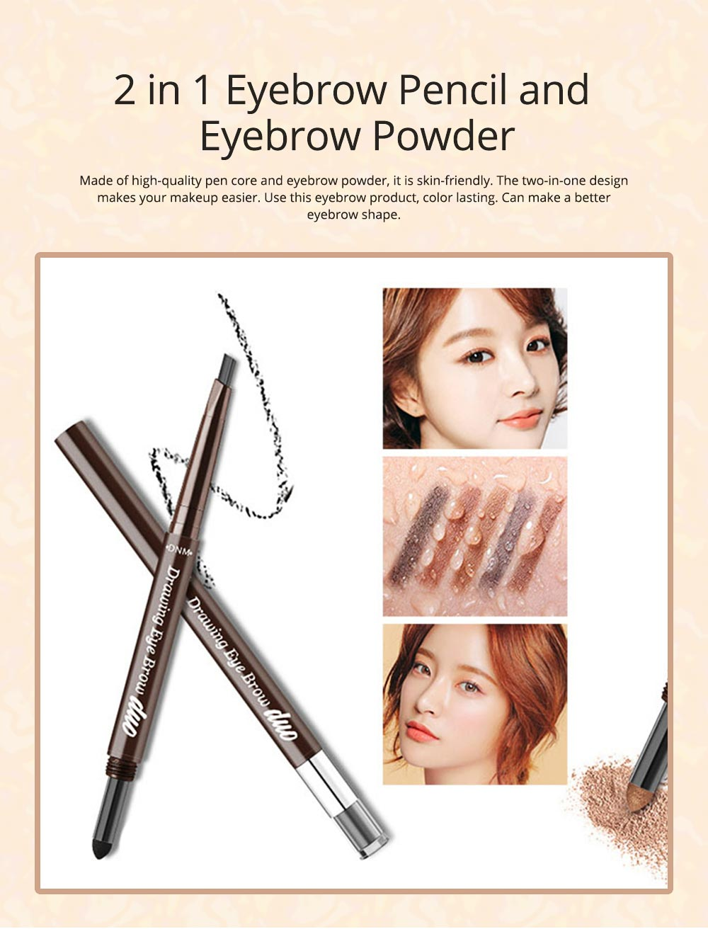 2 In 1 Eyebrow Pencil And Eyebrow Powder, Eyebrow Pencil Powder With Automatic Rotation Waterproof And Sweat-proof 0