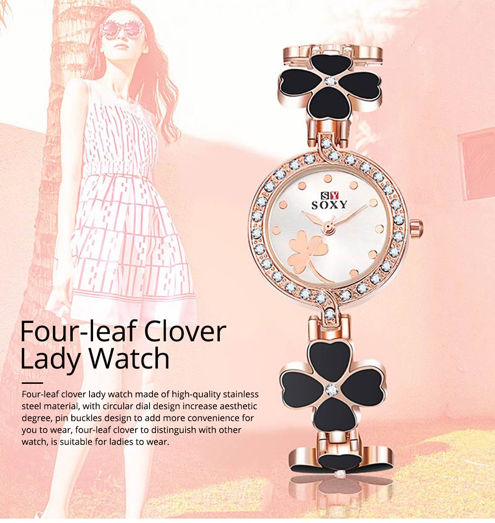 Four-leaf Clover Lady Watch Circular Dial Fashion Style Pin Buckles Stainless Steel Sturdy and Durable Ceramic Wristwatch 0