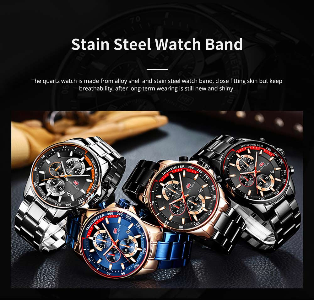 Speed Gauge Watch with Three Index Dial Calendar Men's Waterproof Luminous Quartz Watch with Stain Steel Watch Band 3
