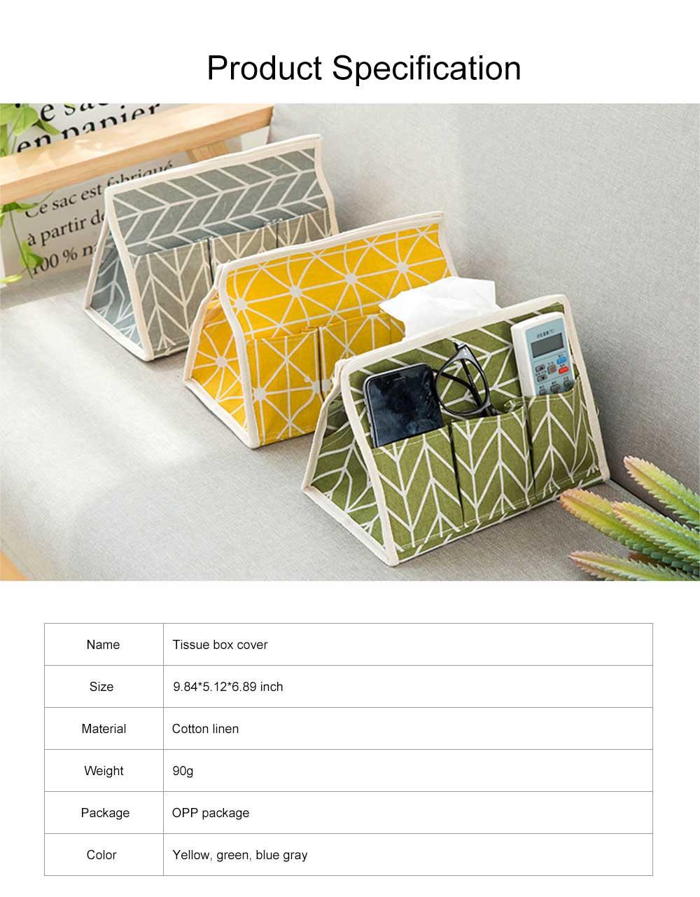 Minimalist Functional Geometric Pattern Tissue Box Cover, Waterproof Wearable Cotton Linen Facial Paper Organizer Holder 6