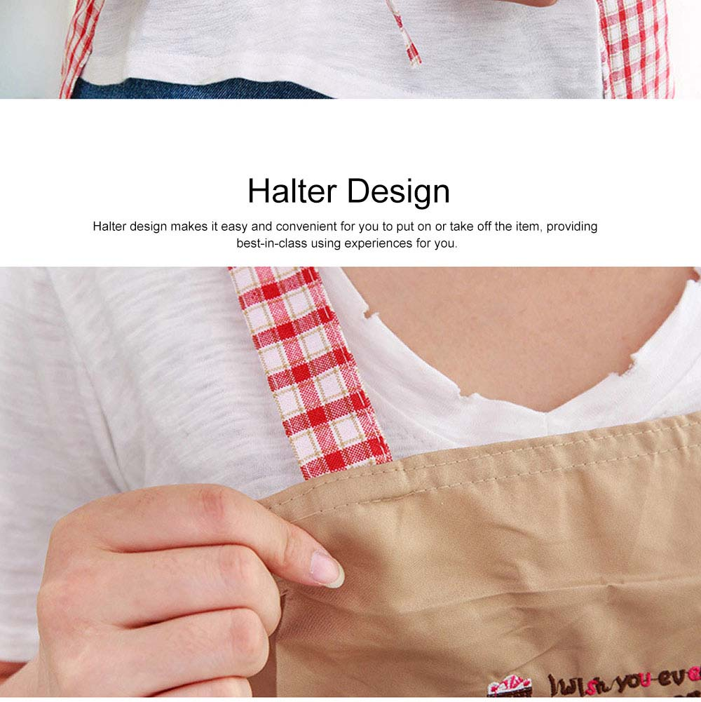 Cute Trees Embroidery Plaid Women Men Apron Dress, Home Kitchen Restaurant Antifouling Adjustable Apron with Pockets 6