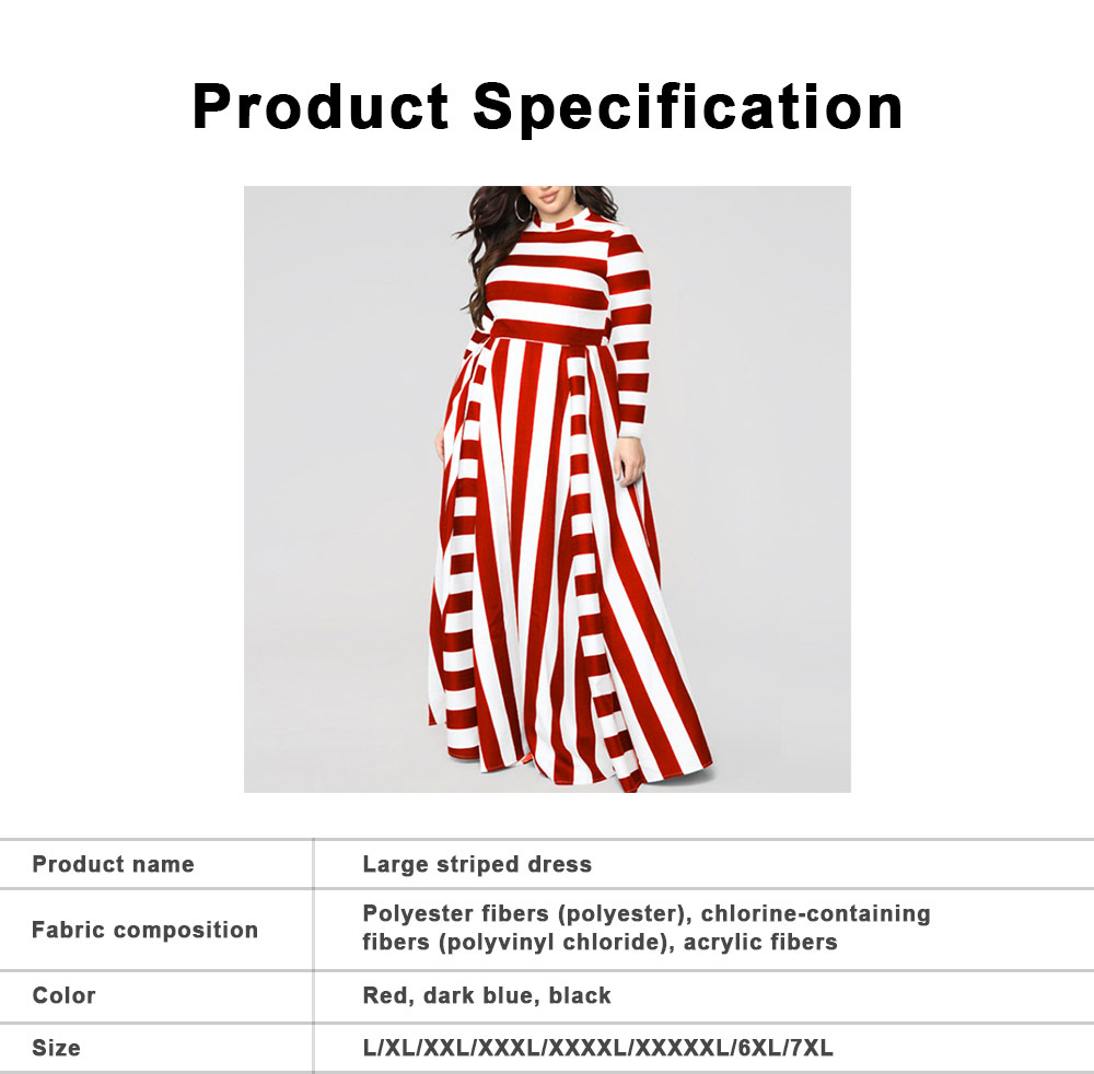 Large Size Striped Dress New Women's Loose Long-sleeved Long-necked Long-Size Dresses 2019 Hot 6