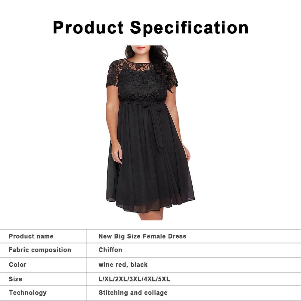 New Big Size Female Dress Comfortable Chiffon Lace Patchwork Short-sleeved Lace Tie Dresses Large Size Lady Dress 2019 6