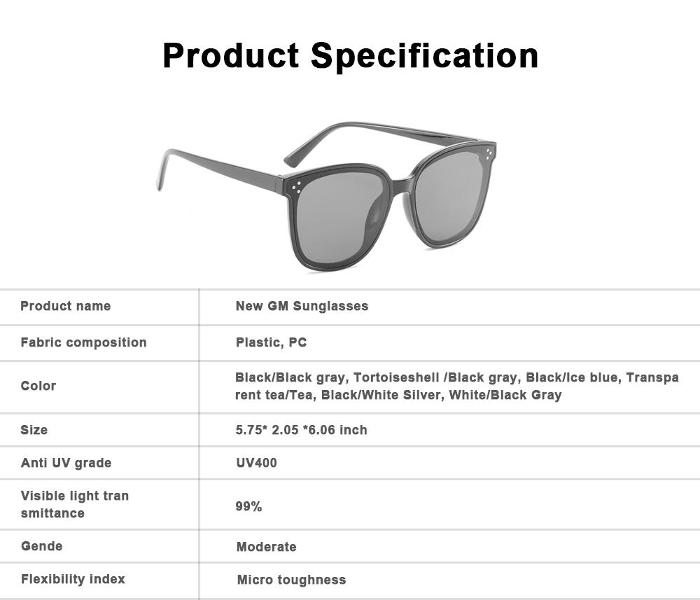 Gm Sunglasses Anti-ultraviolet Box Network Red Man V Brand Sunglasses, Stars With The Same Trendy Sunglasses, Retro Box Classic Trendy Sunglasses 6