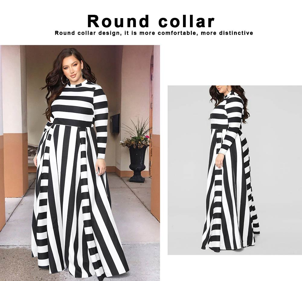Large Size Striped Dress New Women's Loose Long-sleeved Long-necked Long-Size Dresses 2019 Hot 1