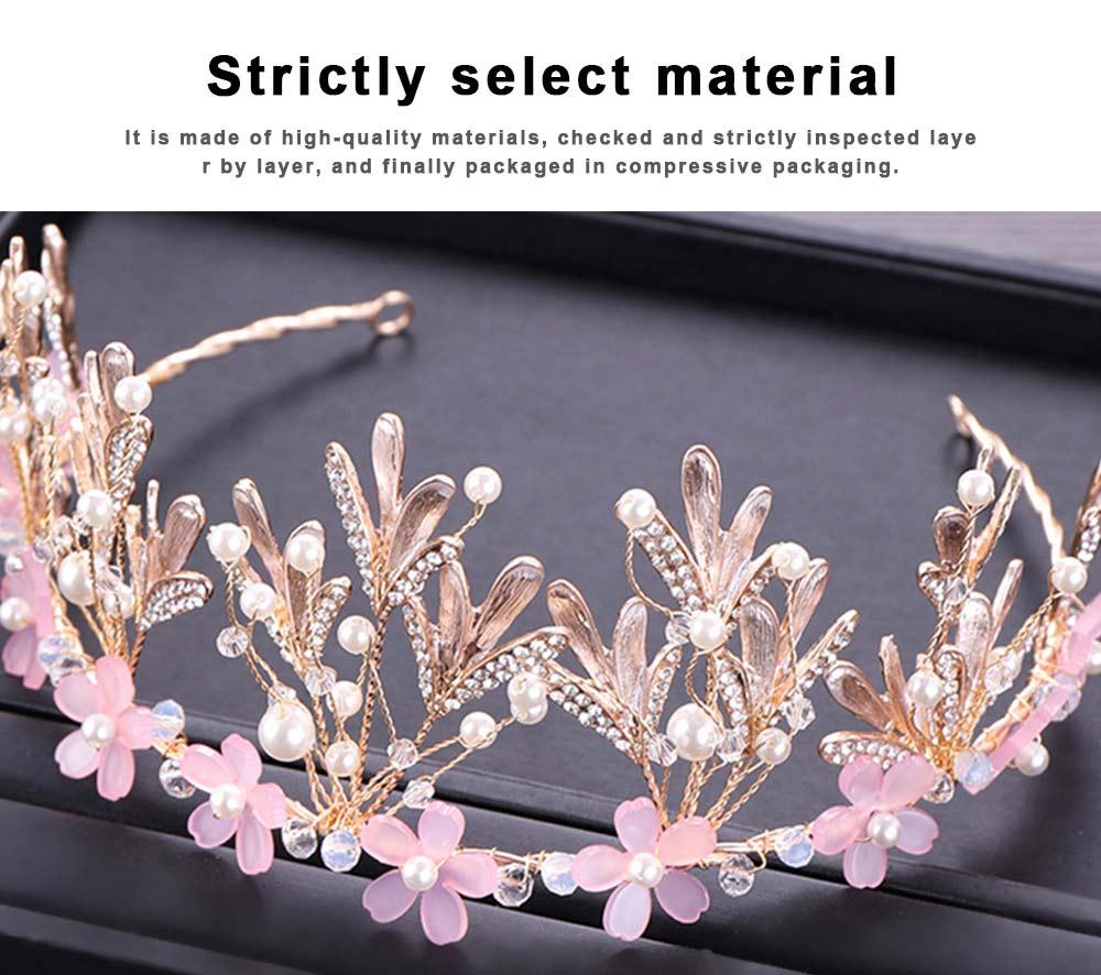 Hoop Ice Snow Crown headdress for Girl Handmade Pearl Alloy Flower Crystal Drilling Hoop Performance Hair Band 5