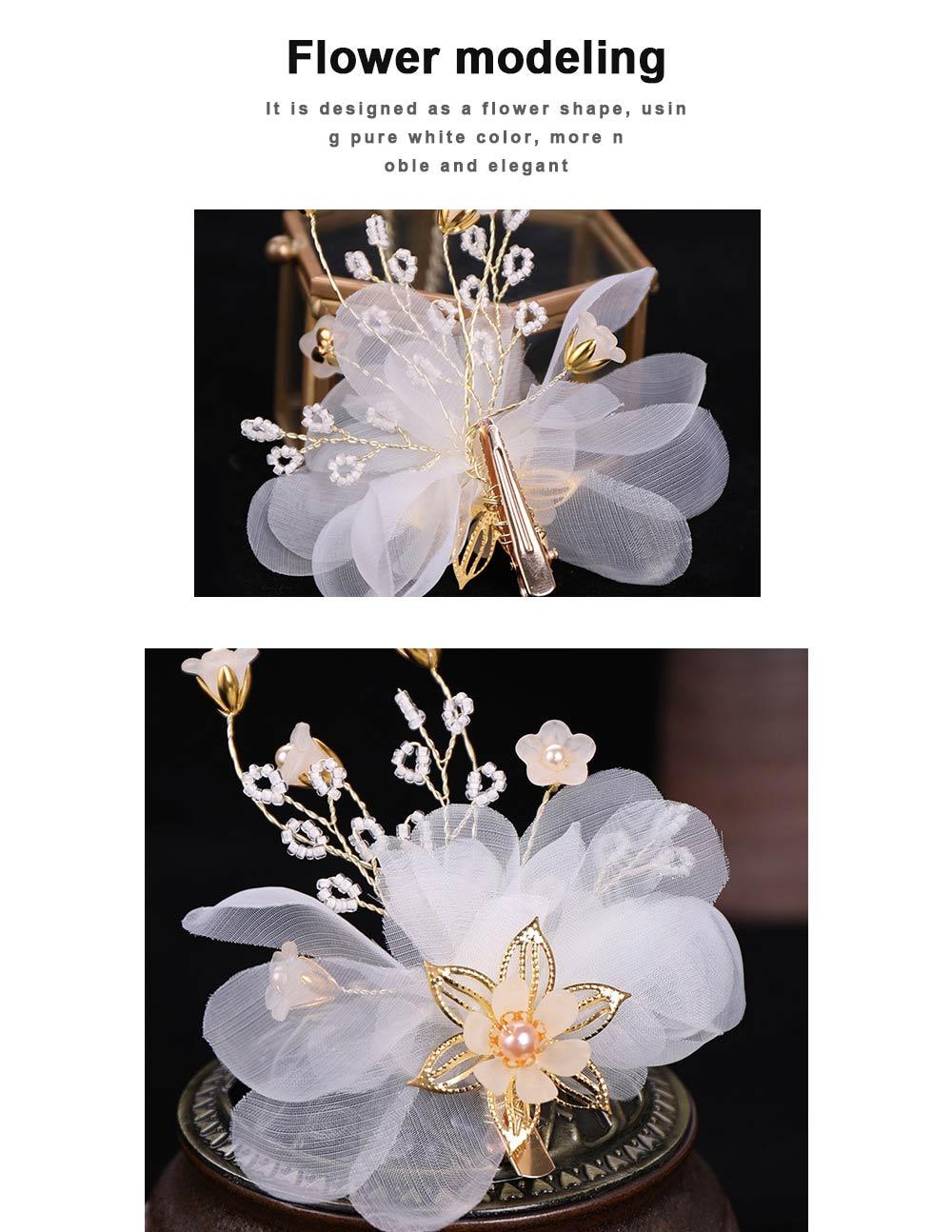 Korean version of women's one-character hairpin, Lovely Korean children flower hairpin pearl hairpin 1