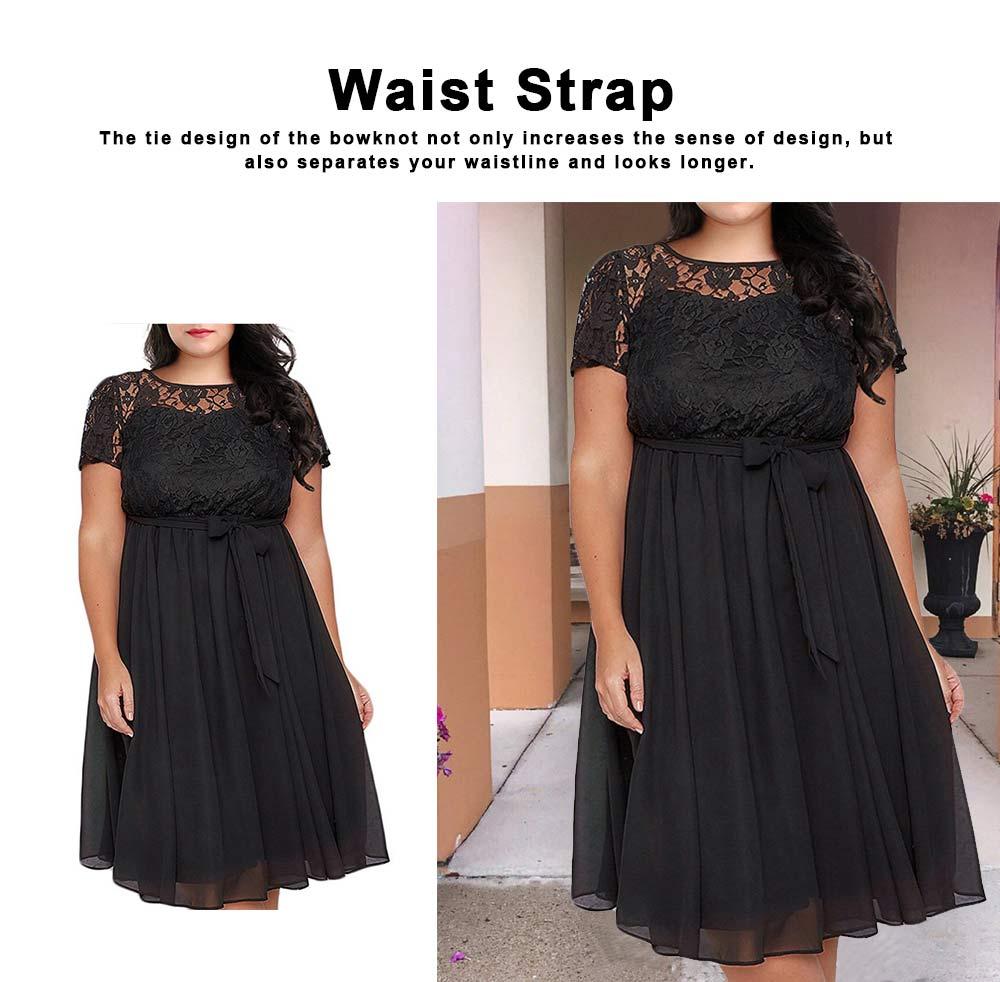 New Big Size Female Dress Comfortable Chiffon Lace Patchwork Short-sleeved Lace Tie Dresses Large Size Lady Dress 2019 3