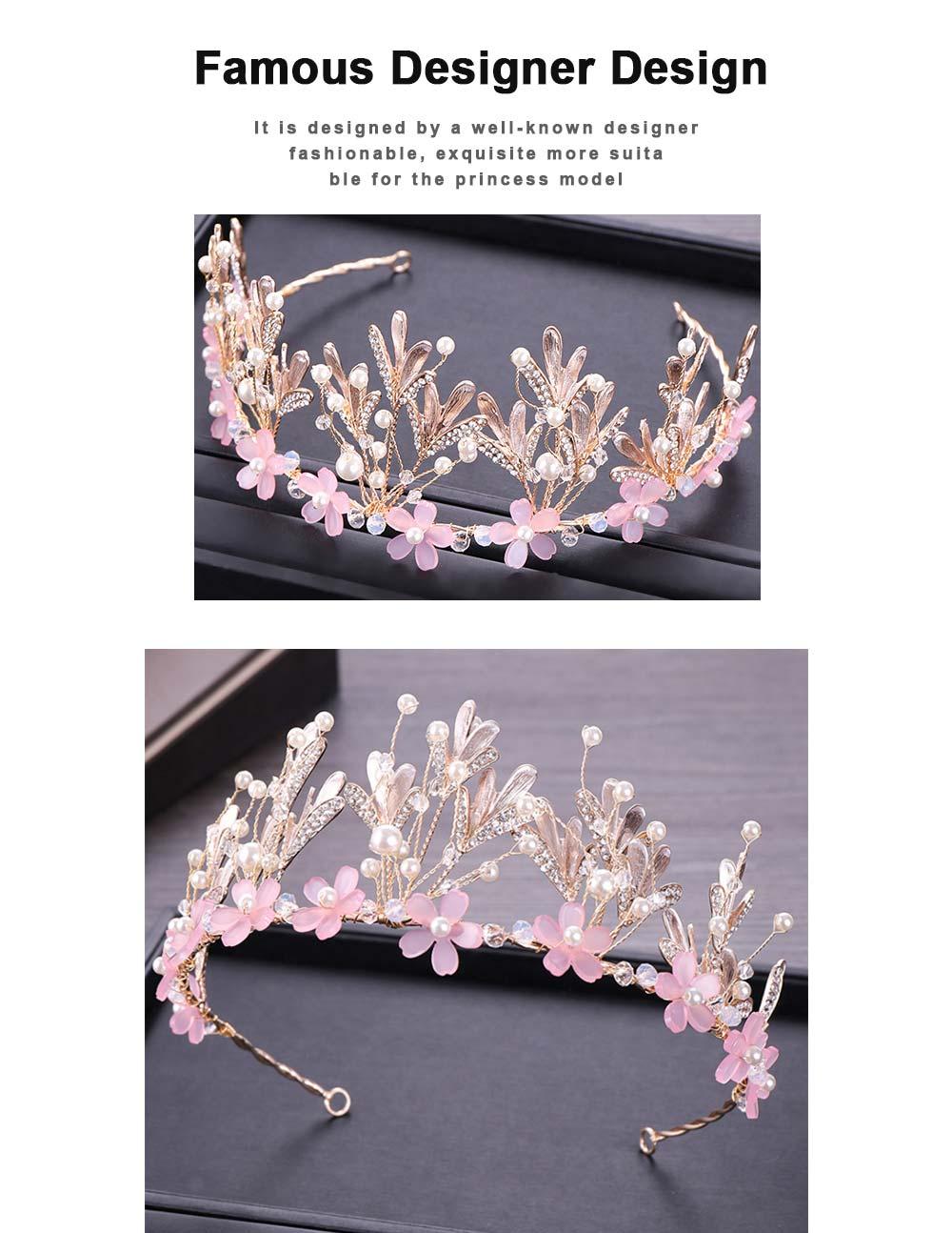 Hoop Ice Snow Crown headdress for Girl Handmade Pearl Alloy Flower Crystal Drilling Hoop Performance Hair Band 1