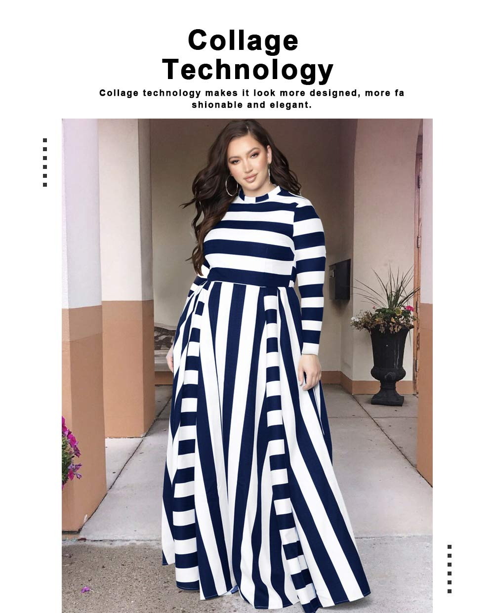 Large Size Striped Dress New Women's Loose Long-sleeved Long-necked Long-Size Dresses 2019 Hot 4