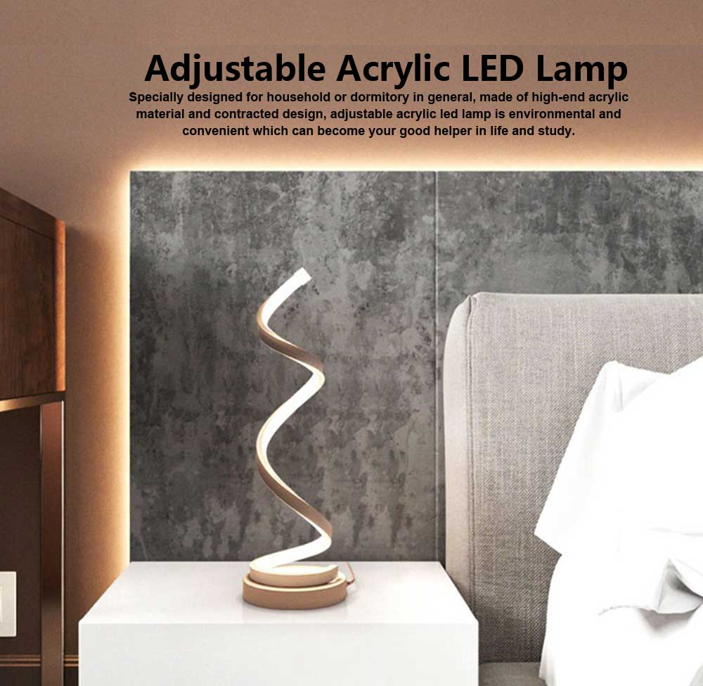 Modern Contracted LED Study Lamp Adjustable Acrylic LED Lamp Eye-protection Bedside Night Light 0