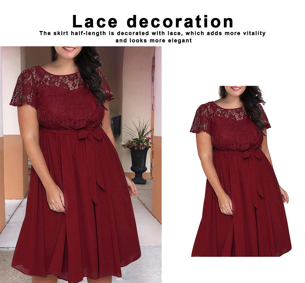 New Big Size Female Dress Comfortable Chiffon Lace Patchwork Short-sleeved Lace Tie Dresses Large Size Lady Dress 2019 1