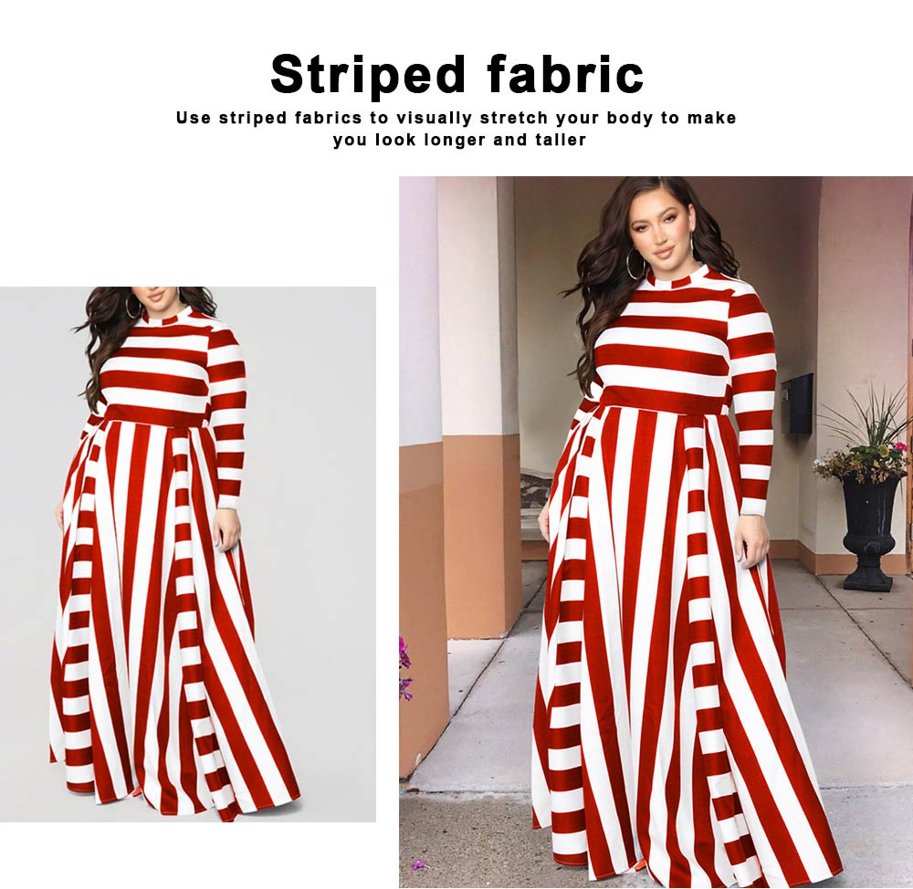 Large Size Striped Dress New Women's Loose Long-sleeved Long-necked Long-Size Dresses 2019 Hot 3