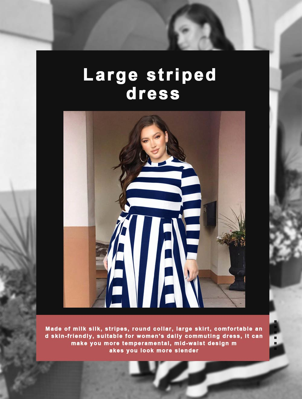 Large Size Striped Dress New Women's Loose Long-sleeved Long-necked Long-Size Dresses 2019 Hot 0