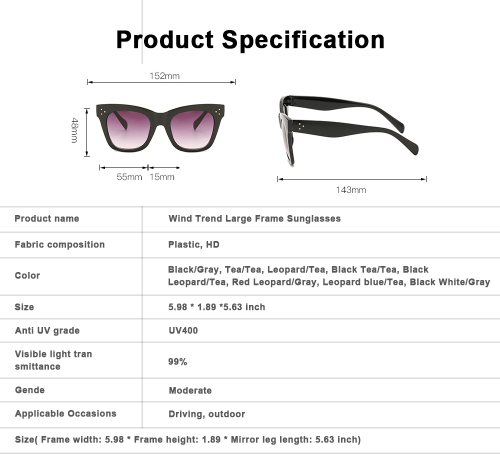 Wind Trend Large Frame Sunglasses in Europe and America Fashion box Sunglasses for Network Red Man Street Photography 6