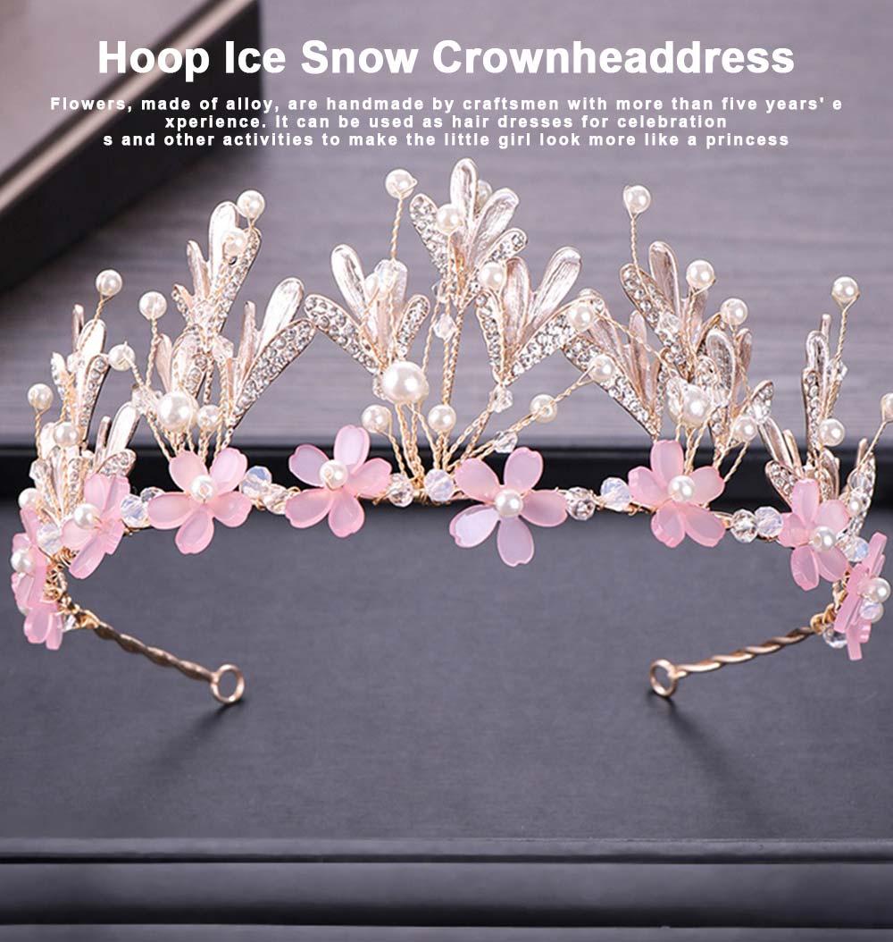 Hoop Ice Snow Crown headdress for Girl Handmade Pearl Alloy Flower Crystal Drilling Hoop Performance Hair Band 0