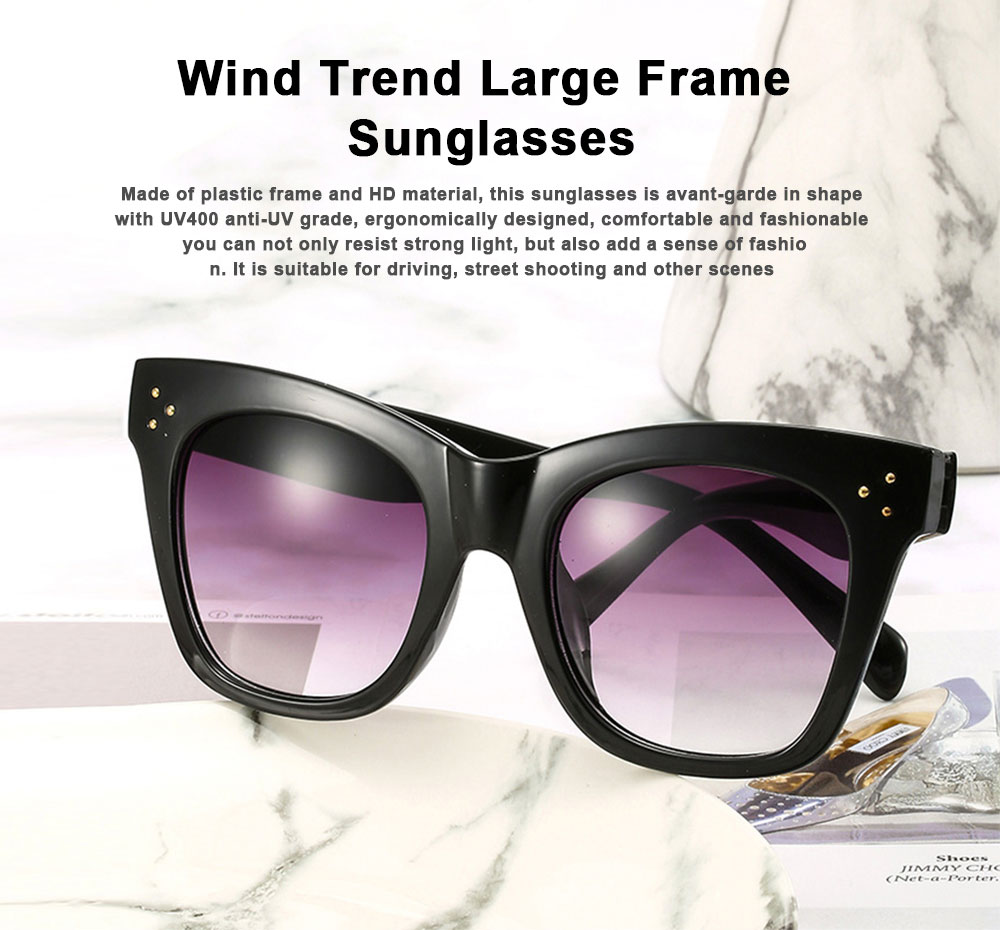 Wind Trend Large Frame Sunglasses in Europe and America Fashion box Sunglasses for Network Red Man Street Photography 0