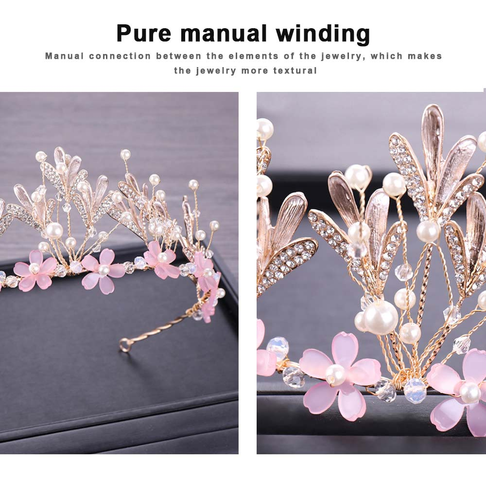 Hoop Ice Snow Crown headdress for Girl Handmade Pearl Alloy Flower Crystal Drilling Hoop Performance Hair Band 2