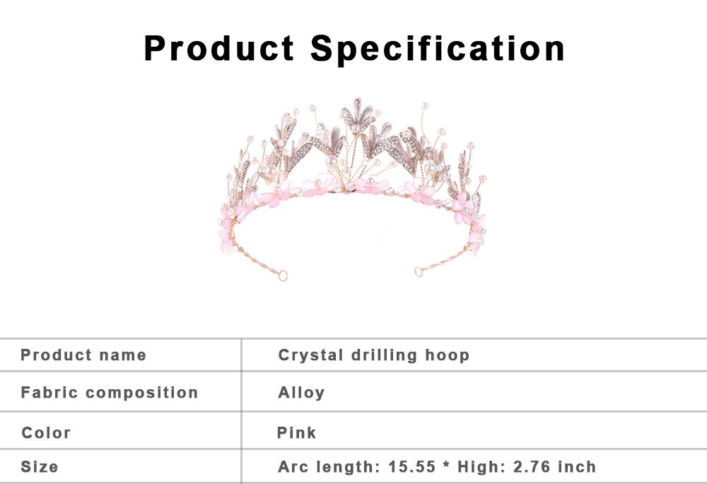 Hoop Ice Snow Crown headdress for Girl Handmade Pearl Alloy Flower Crystal Drilling Hoop Performance Hair Band 6