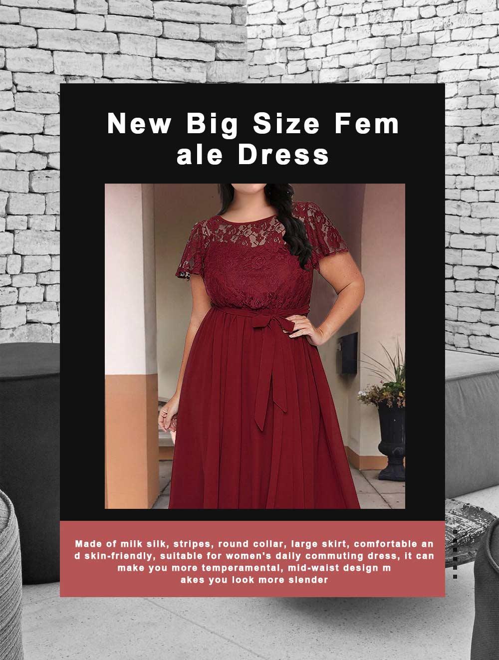 New Big Size Female Dress Comfortable Chiffon Lace Patchwork Short-sleeved Lace Tie Dresses Large Size Lady Dress 2019 0