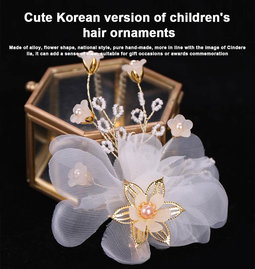 Korean version of women's one-character hairpin, Lovely Korean children flower hairpin pearl hairpin 0