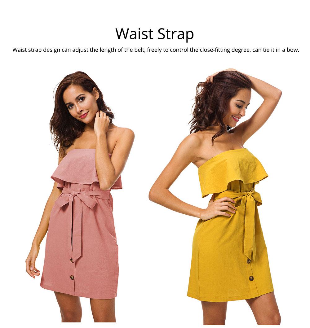 Romantic Off Shoulder Flounce Ruffle Striped Waist Summer Casual Wrap Dress Snap In Front Short Skirt For Women 3
