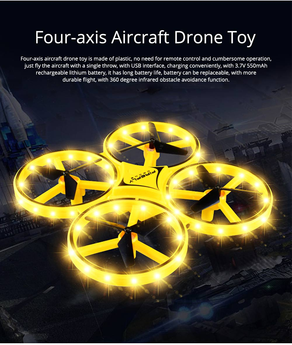 Children's Vehicle Remote Control Aircraft UFO Watch Intelligent Induction Shock Resistance Recharging Four-axis Aircraft Drone Toy 0