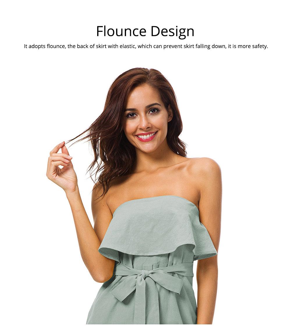 Romantic Off Shoulder Flounce Ruffle Striped Waist Summer Casual Wrap Dress Snap In Front Short Skirt For Women 2