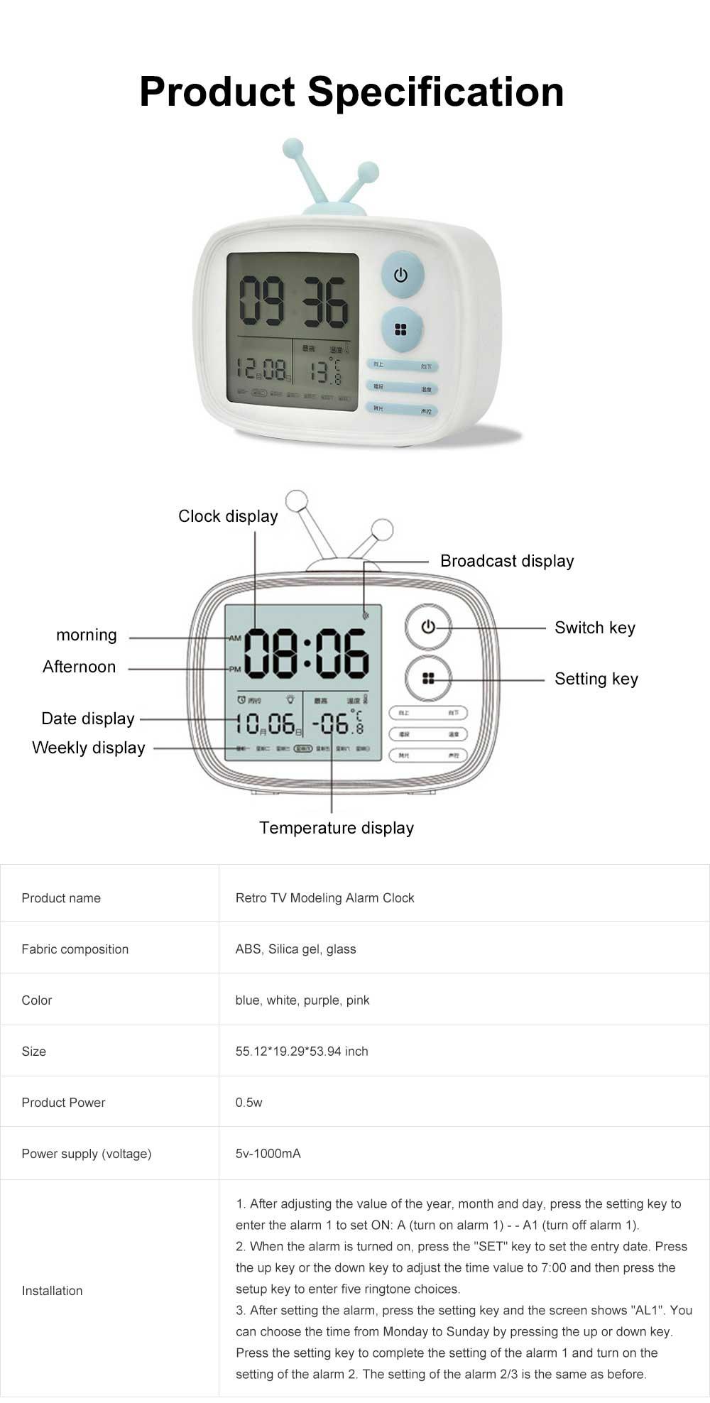 Retro TV Modeling Alarm Clock, Creative Cartoon Voice Charging Electronic Clock for Student Dormitories, Night-light Children's Bedside Alarm Clock 7