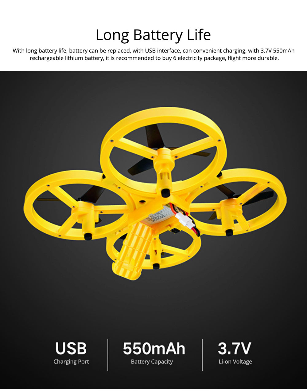 Children's Vehicle Remote Control Aircraft UFO Watch Intelligent Induction Shock Resistance Recharging Four-axis Aircraft Drone Toy 3