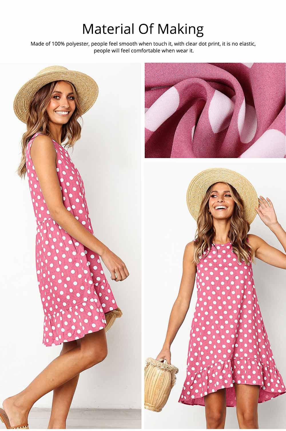 2020 Hot Sell Summer Women Girls Print Polka Dot Dress Ruffle Sleeveless A-Line Casual Loose Short Skirt 1
