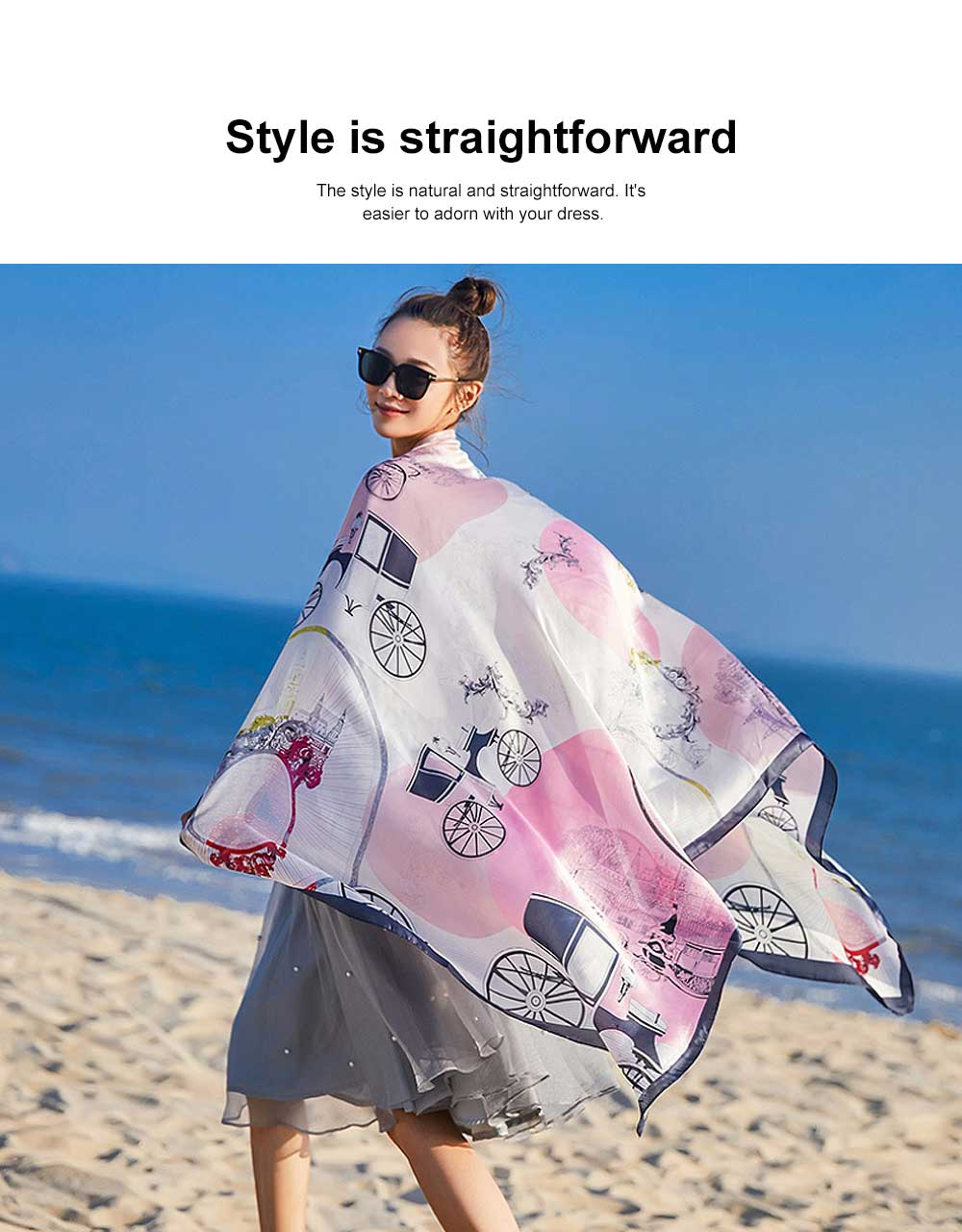 Long Silk Scarf Shawl Sunscreen Printed Beach Towel, New Spring and Autumn Silk Scarf of 2020 1