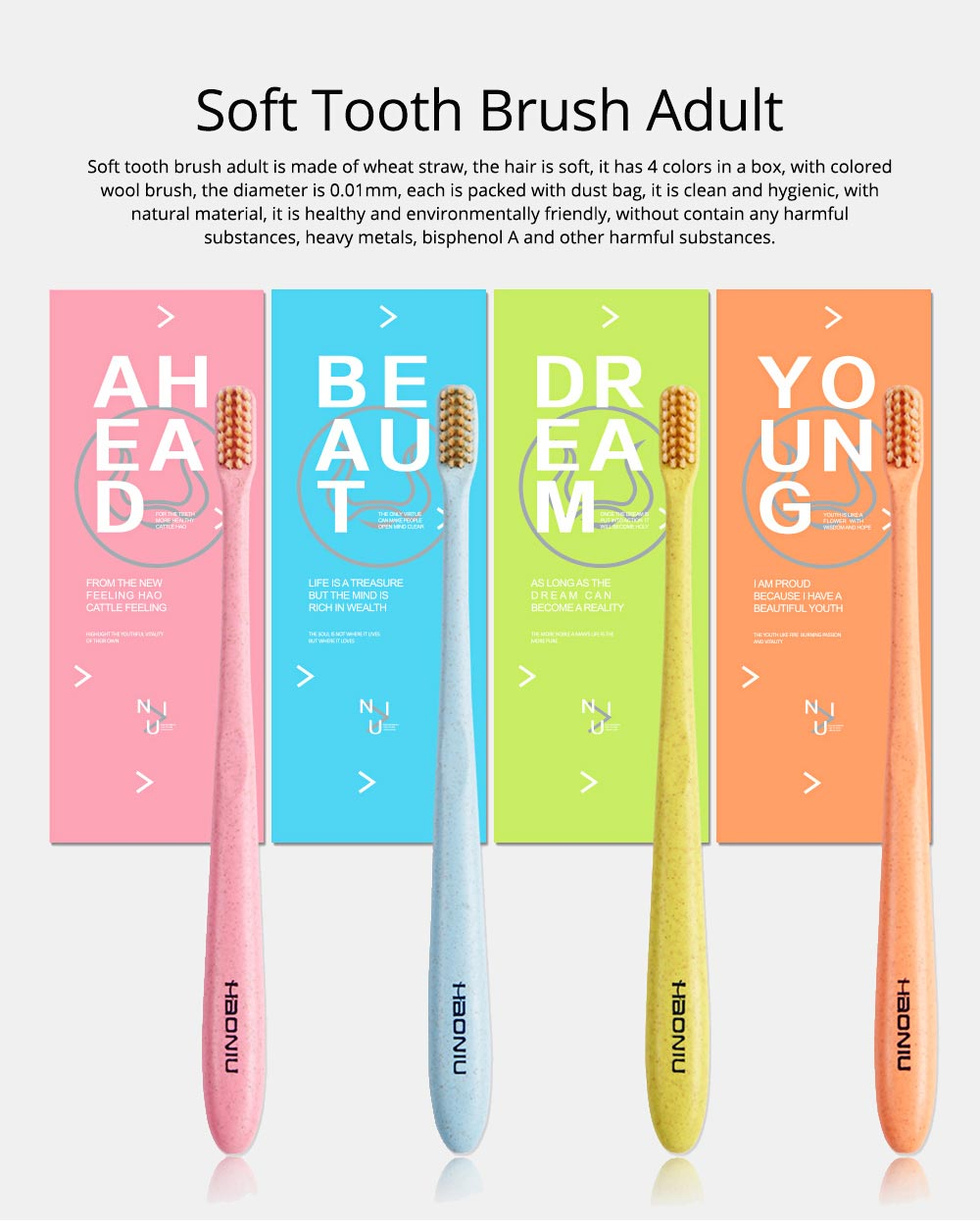 Economic Friendly Oral Hygiene Natural Wheat Straw Toothbrush Tooth Care Cleaning Ultra Soft Slim Tip Bristle Brush Adult Teeth 0