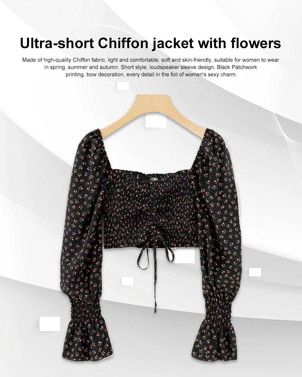Super-short Chiffon Jacket 2019 Summer Autumn Slim Floral Retro Chiffon Blouses With Bell Sleeve 0