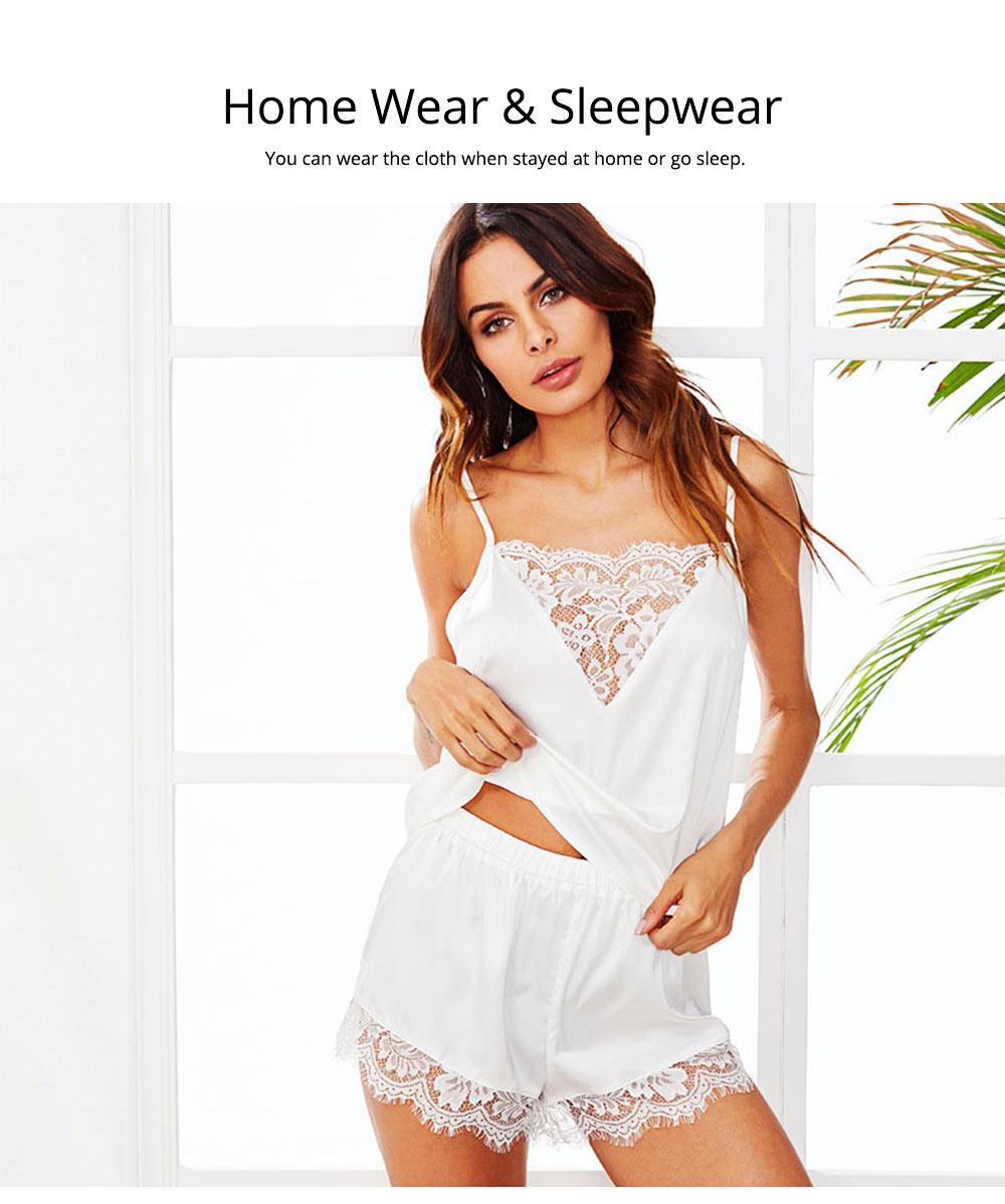 Hot Women Sleepwear Sets Sleeveless Strap Lace Trim Satin Top Nightwear Sexy Summer Home Wear Sleep Wear 5