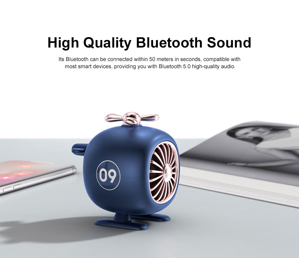 New Multi-functional Aircraft Modeling Bluetooth Audio, Mini Wireless Portable Creative Audio, Individualized BT 5.0 Speaker Hands Free Call Knob Wireless Control 3