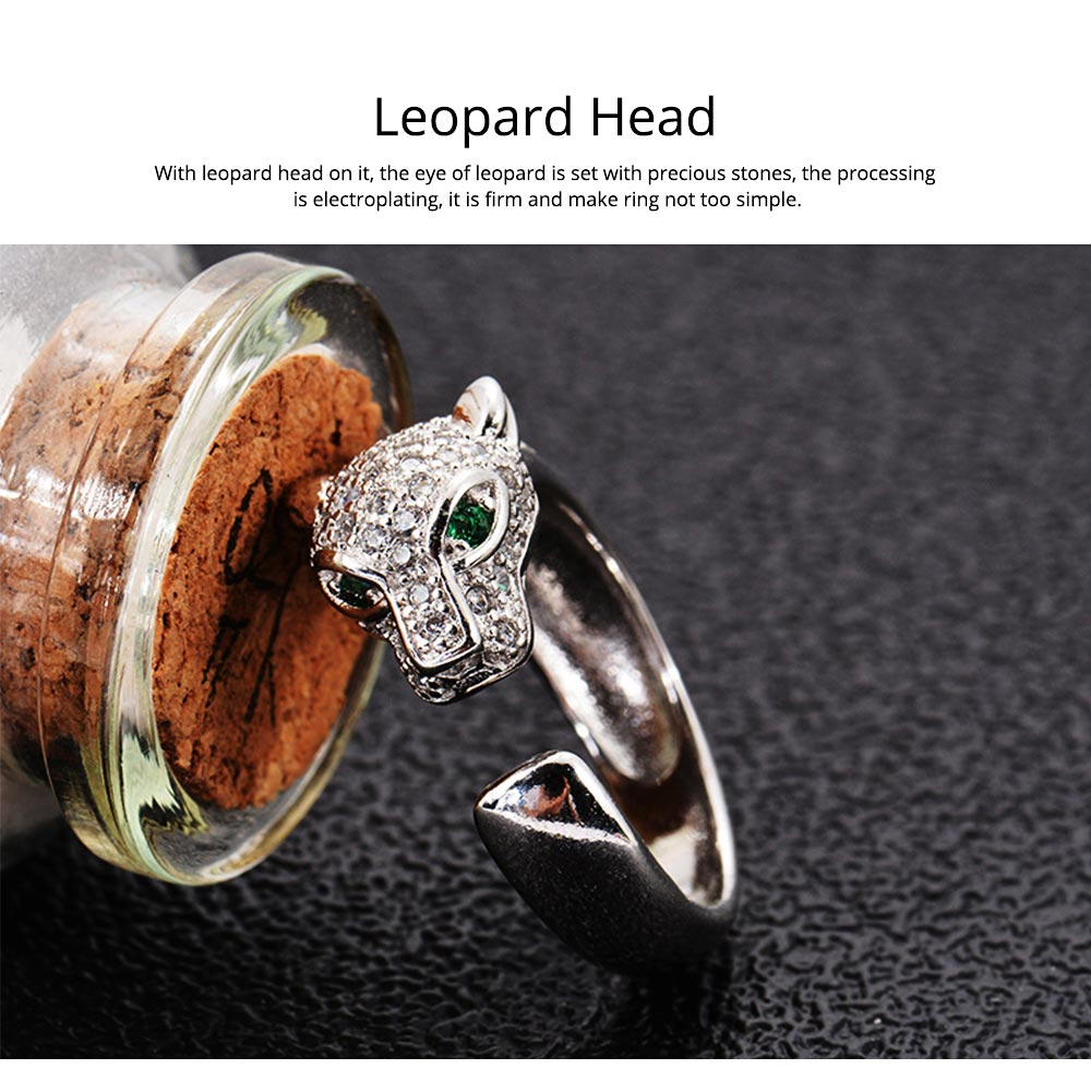Rhinestone Crystal Leopard Head Ring Wedding Brand Ring Jewelry Christmas Gift Women Jewelry Finger Rings 2