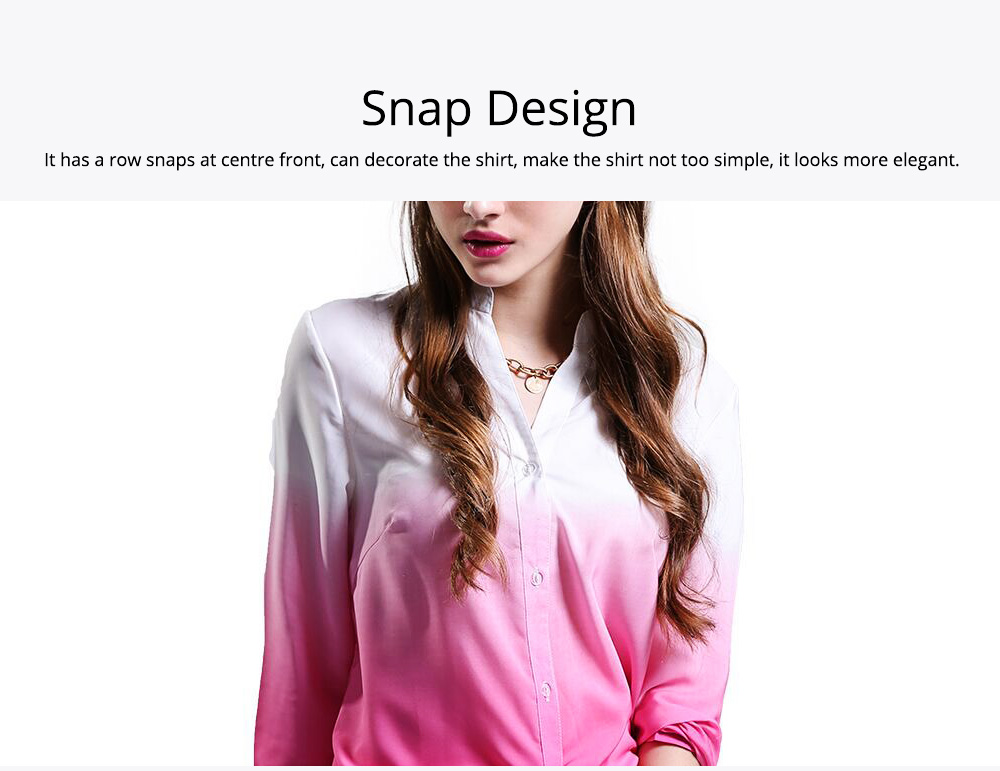 2019 HOT Popular Lady Blouse Sexy V Collar Long-sleeved Women's Chiffon Gradient Pink Shirt For Lady Women 2