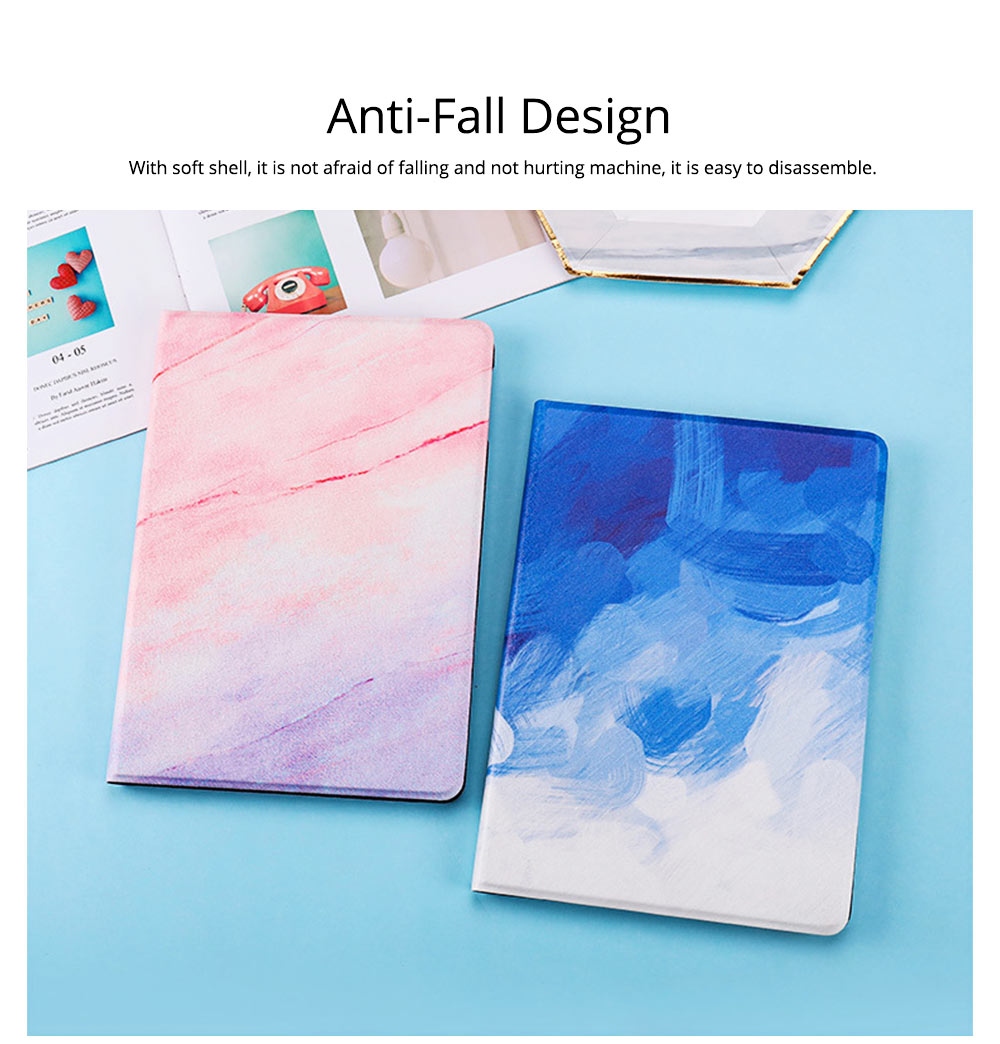 TPU Leather Protective Flip Cover Cases Silicone Soft Shell Marble Pattern Flat Set For iPad Pro 9.7 Inch, Air 1 2, Mini 5 4 3 2, 2018 New iPad 4