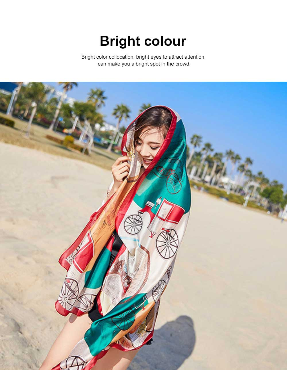 Long Silk Scarf Shawl Sunscreen Printed Beach Towel, New Spring and Autumn Silk Scarf of 2020 4