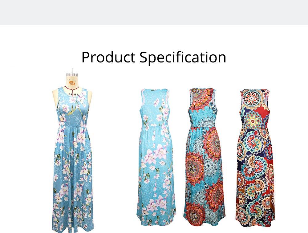 Slim Elegant Long Skirt Summer Elasticity High Waist Women's Flower Print Sleeveless Dress With Pockets Beach Dresses For Ladies 6