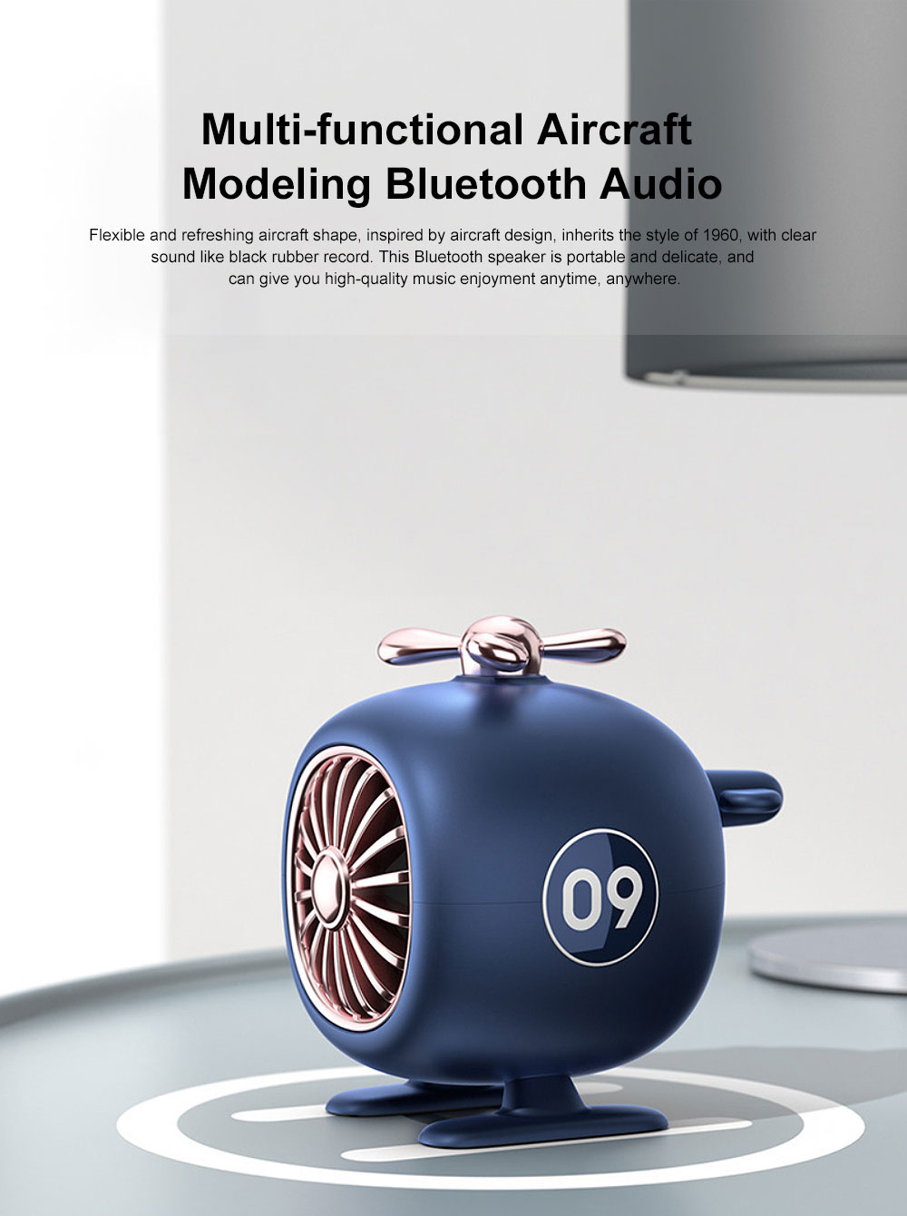 New Multi-functional Aircraft Modeling Bluetooth Audio, Mini Wireless Portable Creative Audio, Individualized BT 5.0 Speaker Hands Free Call Knob Wireless Control 0